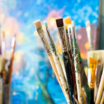 кисти картины краски копия живопись пейзаж пара под зонтом где провести время хобби выходные