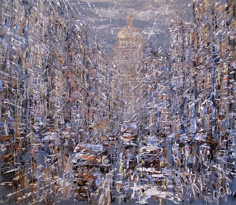 машины проспект масло картина дмитрий кустанович художник творчество научиться рисовать