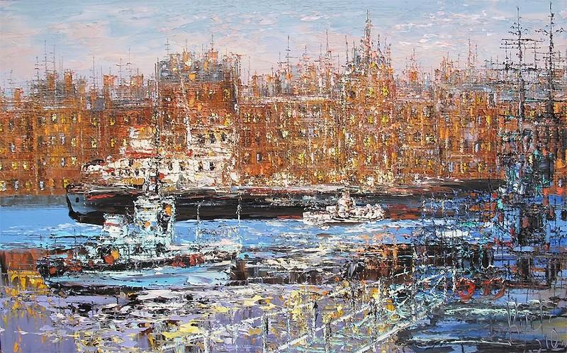 лодки баржи живопись красота море река мастихин необычно ярко краски