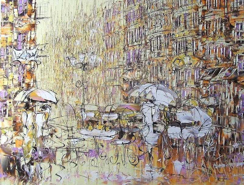 город картина маслом импрессионизм абстракция классика живопись в интерьер