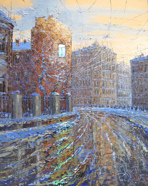 зима улица город картина живопись обучение алексей жуков кустанович