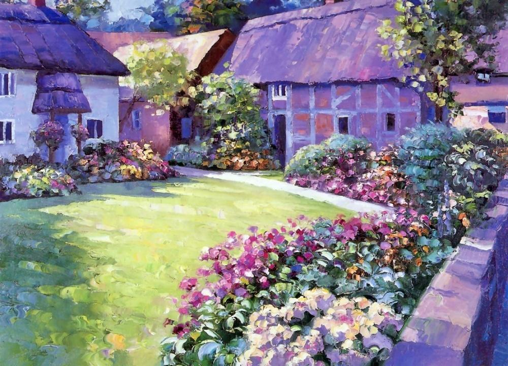 беренс, курсы живописи, дома, пейзаж, рисовать с нуля, фиолетовый, двор, импрессионизм