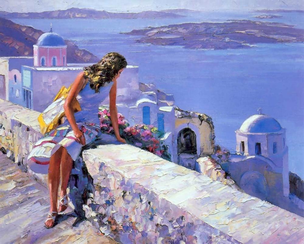 яркие картинки, современная живопись, девушка, импрессионизм, море, пейзаж, обои для рабочего стола, говард беренс, курсы живописи, алексей жуков