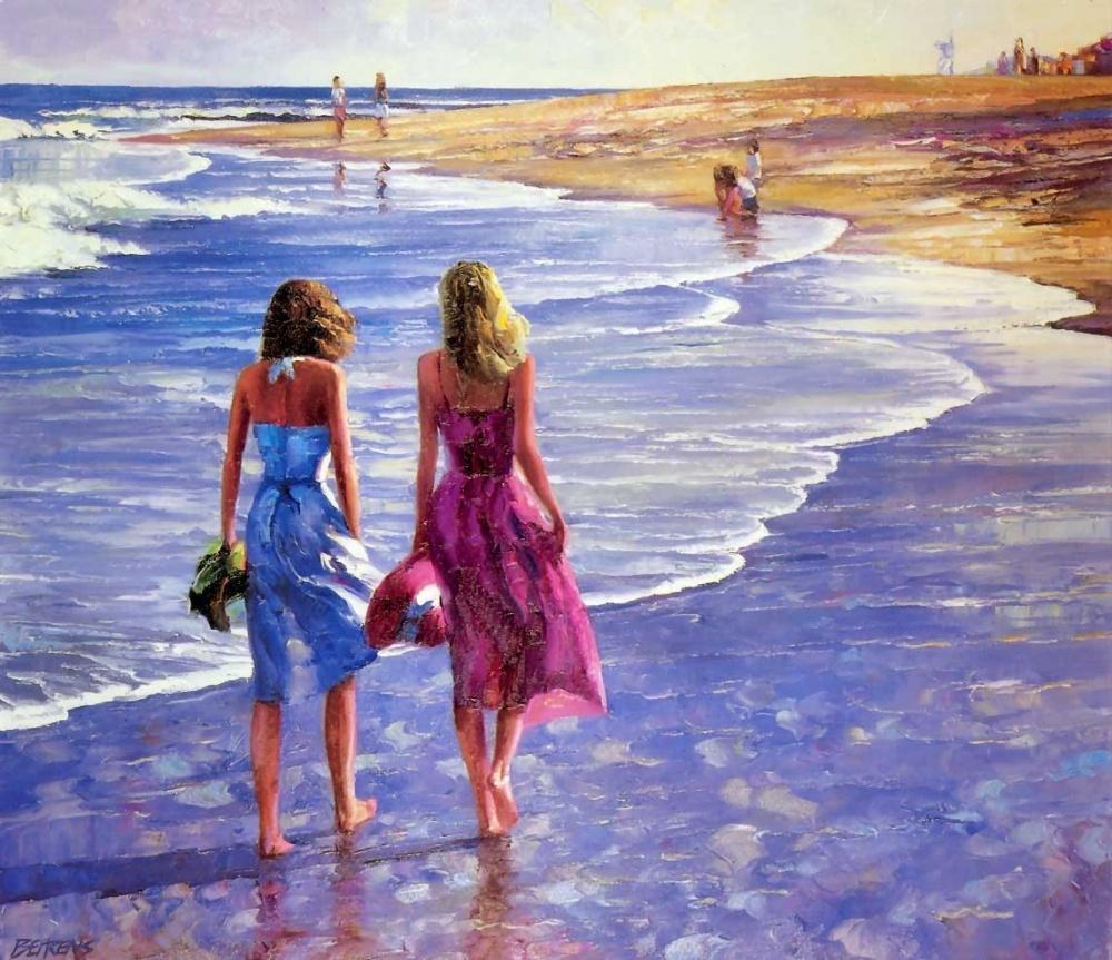девушки, пляж, песок, волна, море, небо, тепло, берег, удовольствие, учеба, радость, говард беренс