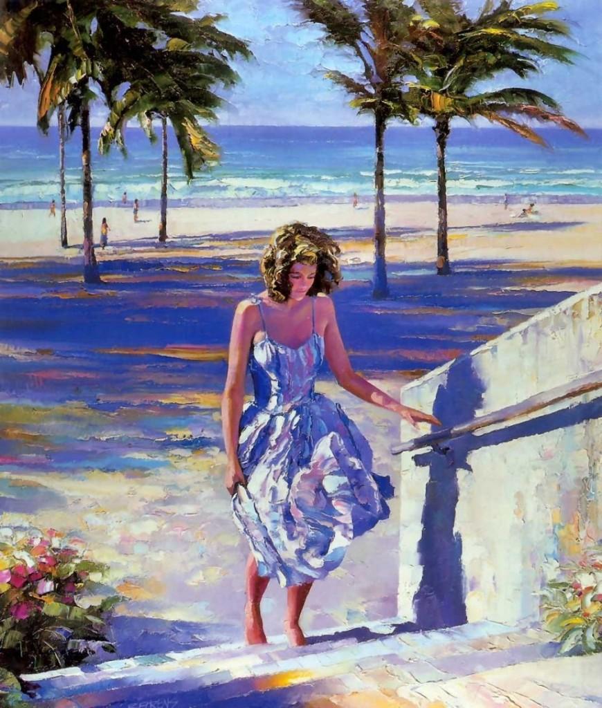 говард беренс, девушка, пляж, пальмы, море, небо, лето, тепло, рай, рисовать, краски