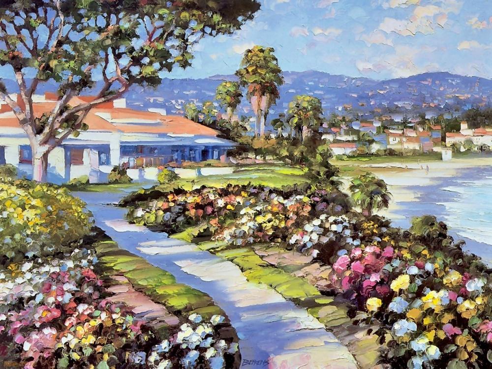 говард беренс, пейзаж, горы, небо, дома, деревья, цветы, курсы живописи