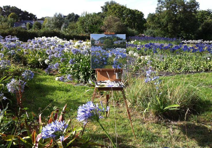 цветы трава деревья небо отдых живопись рисовать