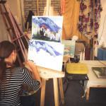 картинки живопись рерих мастерская писать маслом цветы вода деревья стекло пейзаж горы