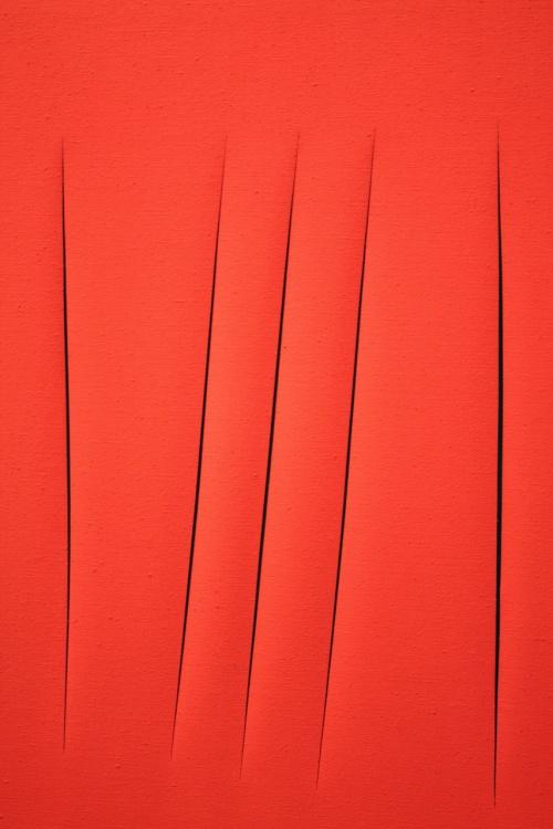 лучо фонтан Пространственная концепция красный холст масло кисти творчество вдохновение необычное искусство