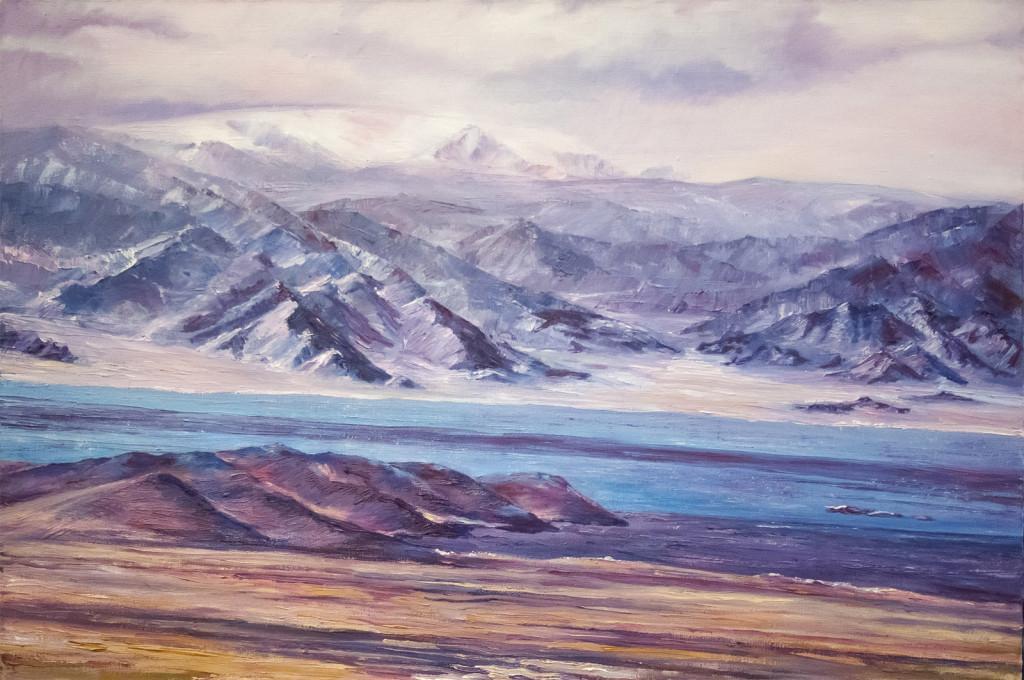 горы тибет монголия море озеро пейзаж картина маслом небо как рисовать облака импрессинизм курсы живописи