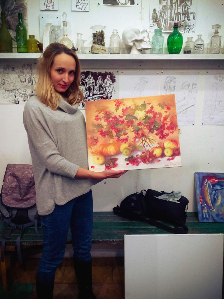 осенний натюрморт тыква яблоки калина ваза работы учеников студия живописи рисунок курсы алексей жуков спб