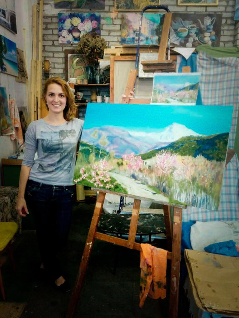 ученики с картинами наше порфтолио наши работы мастерская живописи васильевский остров
