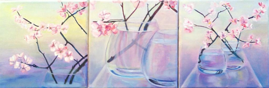 цветы ваза стаканы современная живопись минимализм триптих интерьерные картины петербург