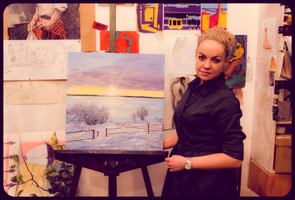 курсы живописи картина маслом зимний пейзаж солнце снег кусты забор изгородь облака голубой лимонный сиреневый работы учеников артстудия васильевский остров спб питер
