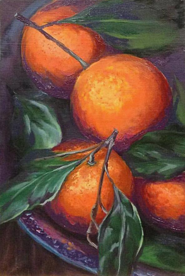 raboty_ychenikov_kyrsy_zhivopisi_petersburg_мандарины апельсины фрукты ветка листья живопись мастихином кисть постимпрессионизм импрессионизм авторская работа курсы живописи спб питер
