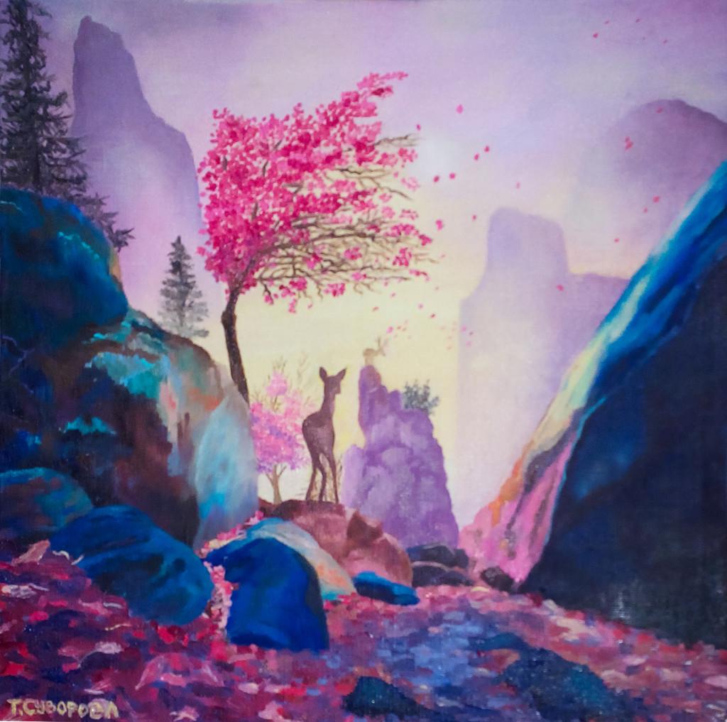 raboty_ychenikov_kyrsy_zhivopisi_petersburg_пейзаж фэнтези яркая картина малиновый синий сиреневый камни горы олень елки дерево научиться рисовать живопись для начинающих курсы живописи спб петербург