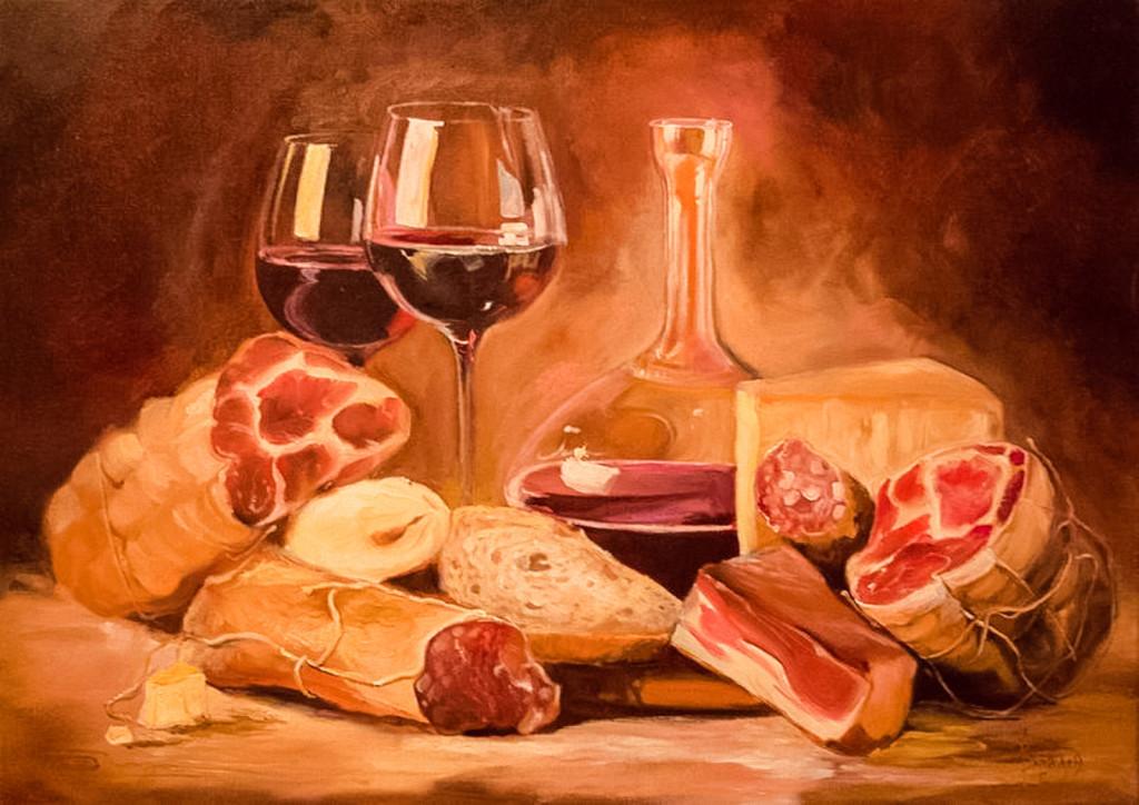 натюрморт бокал стекло мясо классическая живопись малые голландцы