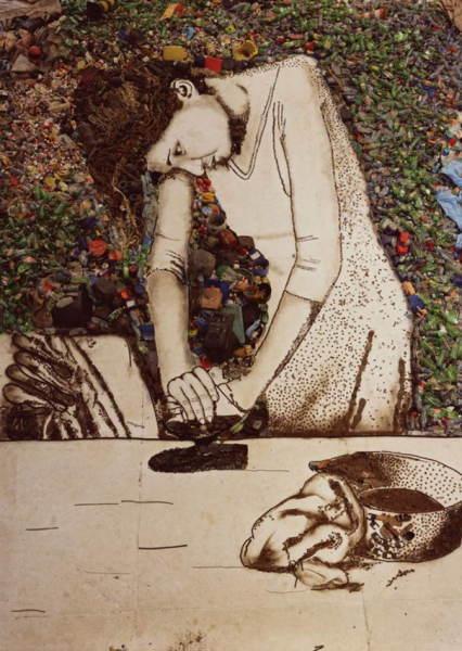 Девушка, нарисованная отходами картины из необычных материалов креатив приколы интересное искусство