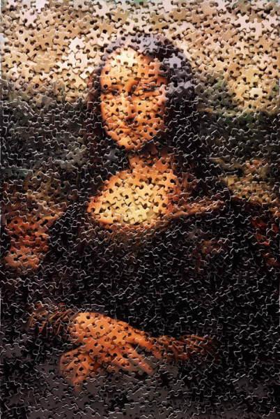 Мона Лиза из россыпи пазлов картина из необычных материалов вебинары видеоуроки как рисовать