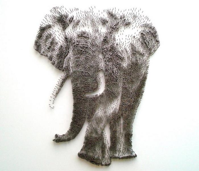 картина из гвоздей слон как рисовать животных куда пойти в выходные спб алексей жуков