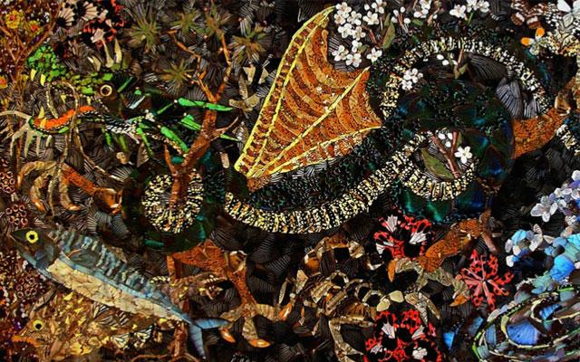 картина из крыльев бабочек