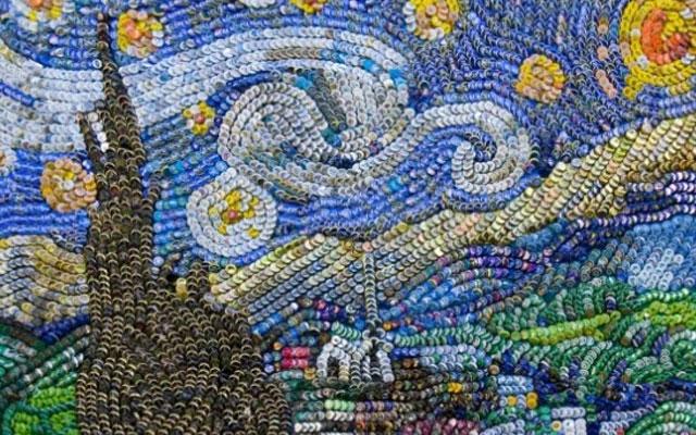 крышки от бутылок звездная ночь ван гог шедевр живопись хобби