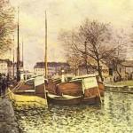 Альфред Сислей Лодки на канале Сен-Мартин в Париже