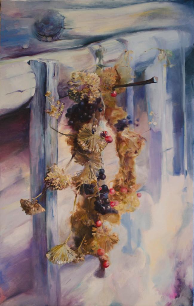 гроздь ветвь стена дома бревна сухостой травы цветы ягоды натюрморт деревня дача картина маслом живопись красиво спб петербург обучение