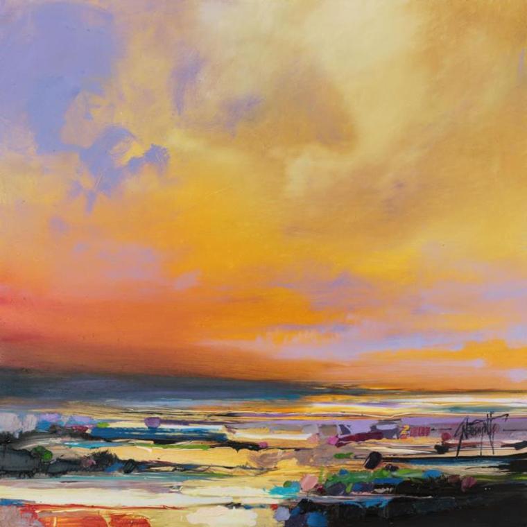 закат солнце небо волны море англия шотландия пейзажи картина маслом скот нейсмит как научиться копировать картины живопись современные художники