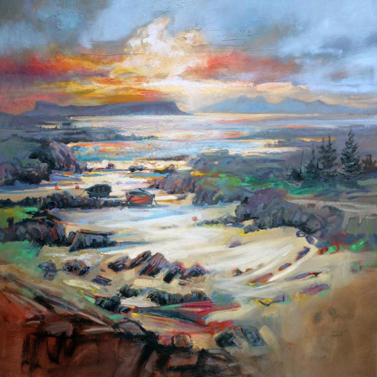 деревья утесы горы водопад река ручей небо пейзаж шотландия сказочная картина живопись мастихином скот нейсмит