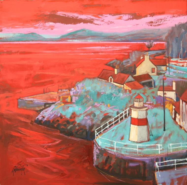 красный мятный розовый маяк вода море закат небо горы скот нейсмит