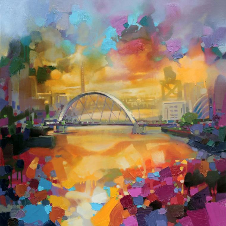 город мост дома залив вода цветовые пятна научиться рисовать