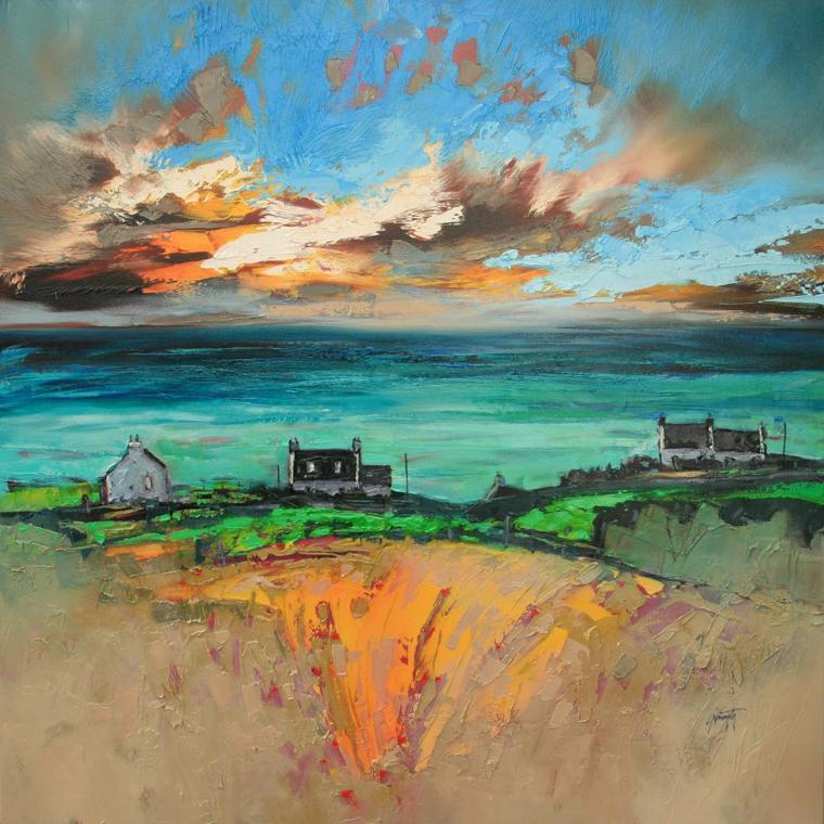 обрыв море небо как рисовать поэтапно дома пейзаж маслом