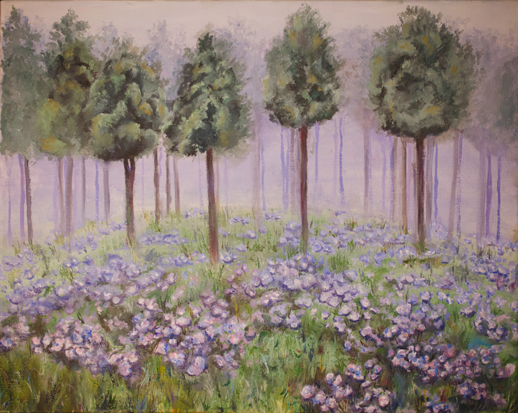 деревья лес цветы туман картина маслом курсы живописи арт-студия уроки творчество мастихин спб
