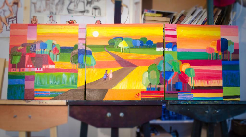 триптих живопись маслом пейзаж яркие цвета хобби радость петербург алексей жуков современное искусство арт