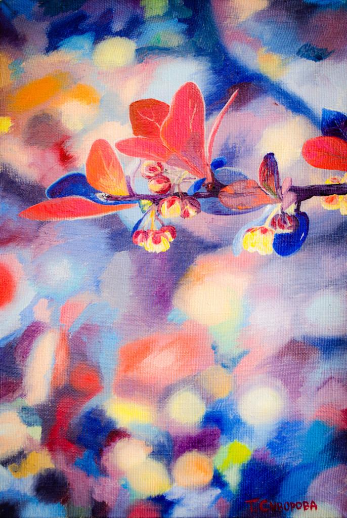 ветка вишня современное искусство творчество абстракция импрессионизм дали ренуар моне пикассо купить живопись картина на заказ роспись спб