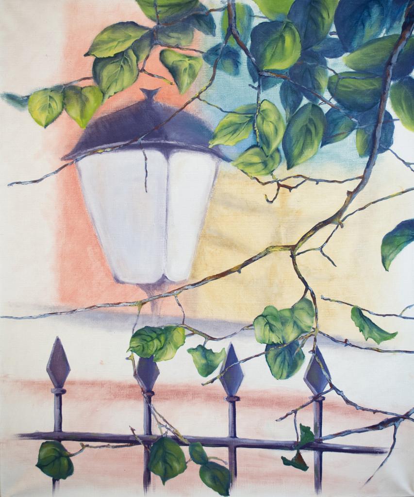 raboty_ychenikov_kyrsy_zhivopisi_petersburg_фонарь ветви дерево дом ограда пейзаж город картина маслом рисование для начинающих