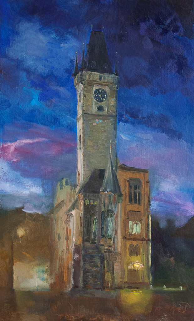 прага башня собор площадь ратуша достопремечательности городской пейзаж курсы живописи обучение нарисовать картину в подарок мастер-классы