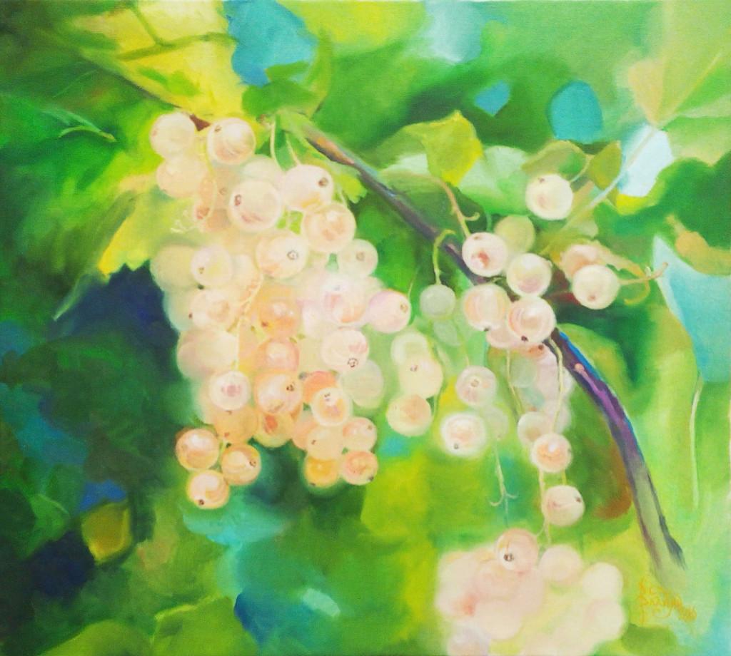 ветка ягод смородина зеленый желтый синий уроки живописи мастер-классы студия занятия для детей рисование для начинающих