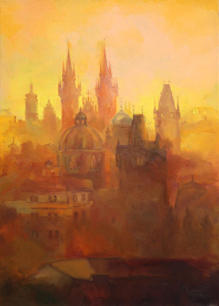 прага город силуэт картина маслом купить живопись спб петербург хобби чем заняться в петербурге лучшие курсы творчество
