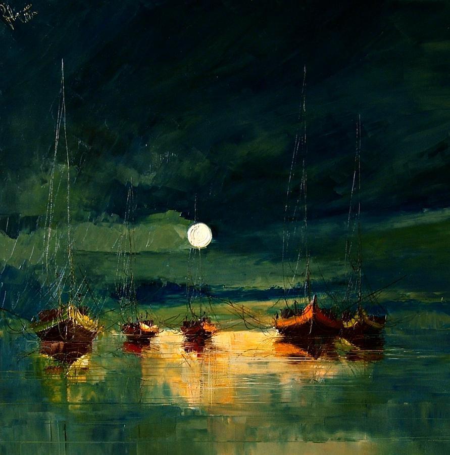 небо облака луна корабли вечер ночь картина маслом великие художники леонардо ван гог пикассо дали купить копию нарисовать портрет обучение мастер-класс