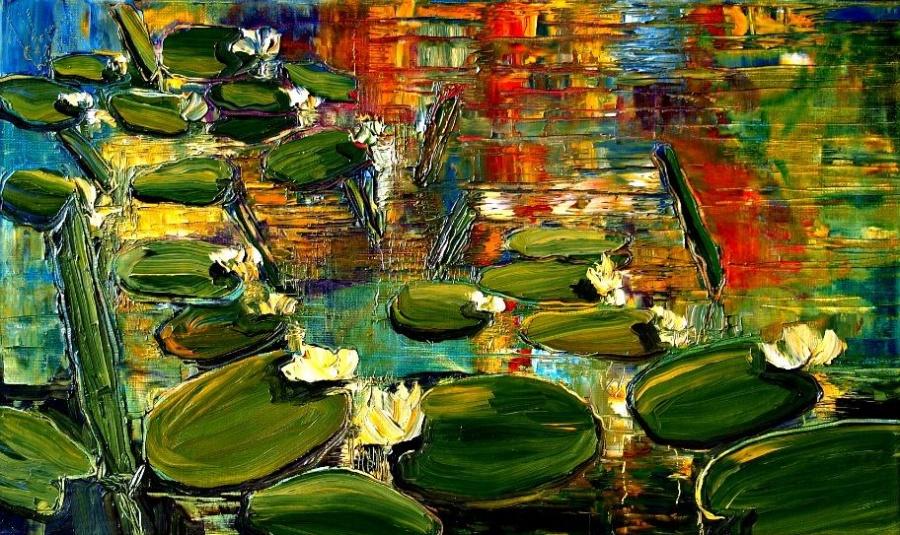кувшинки цветы маслом курсы живописи алексей жуков василеостровская лофт музей выставка купить картину в подарок как рисовать пейзаж