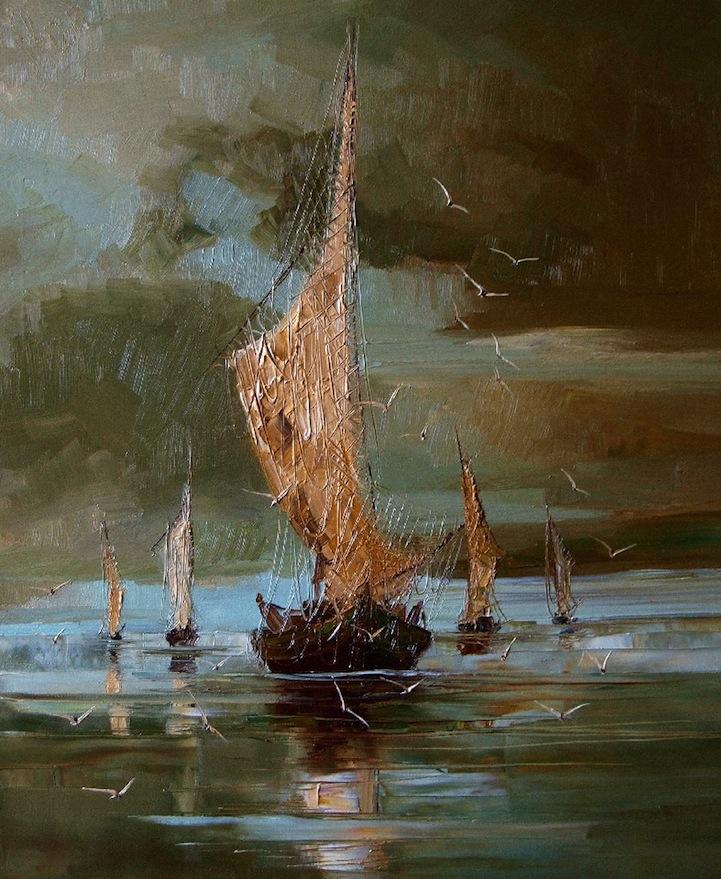 парус корабли море буря шторм justina kopanja чайки берег тучи лодки купить картину на заказ роспись радость как нарисовать море мастер-класс спб