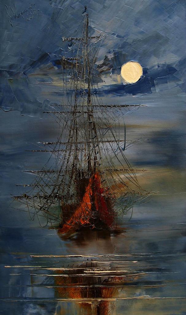 юстина копанья живопись маслом картина шедевр музей выставка небо ночь луна парусник корабль морской пейзаж научиться рисовать записаться на занятие подарочный абонемент курсы живописи арт
