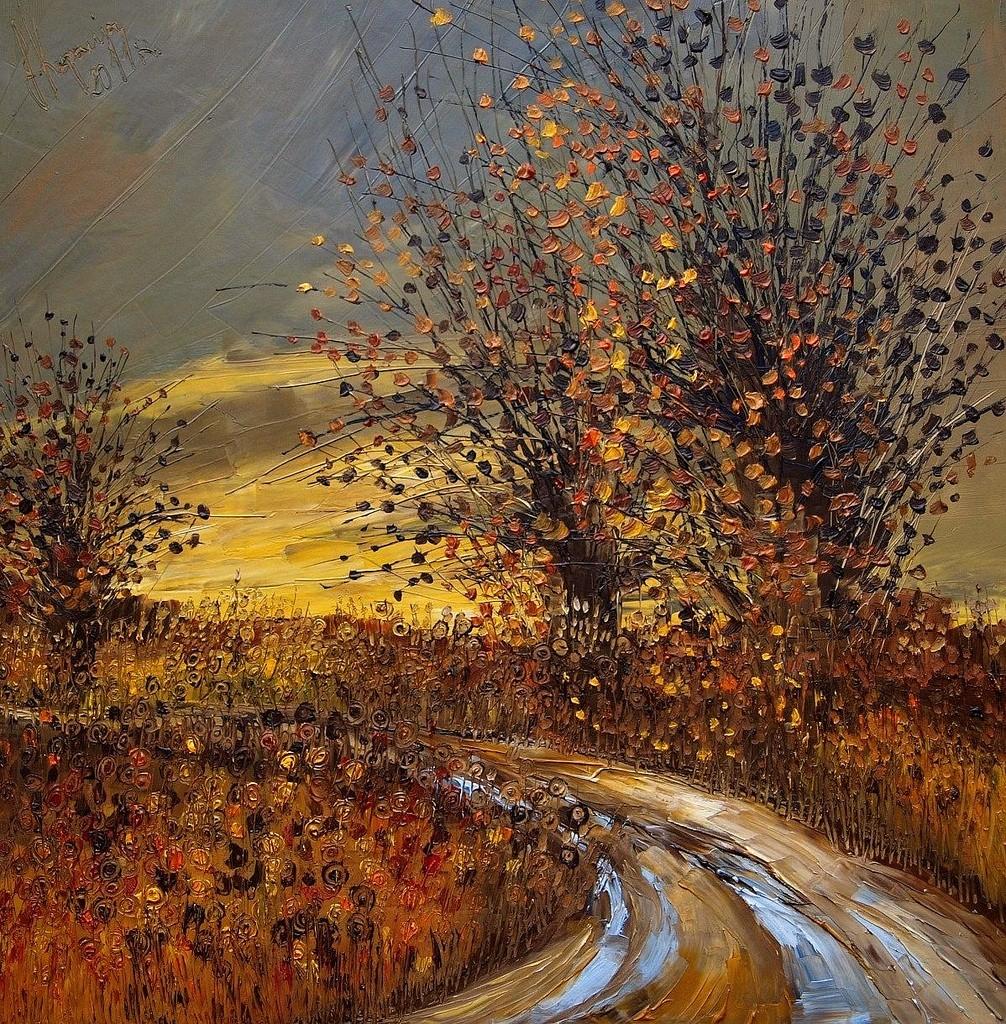 дорога деревья осень пейзаж юстина копанья как рисовать маслом видеоуроки вебинары мастер-класс пленер алексей жуков артмуза