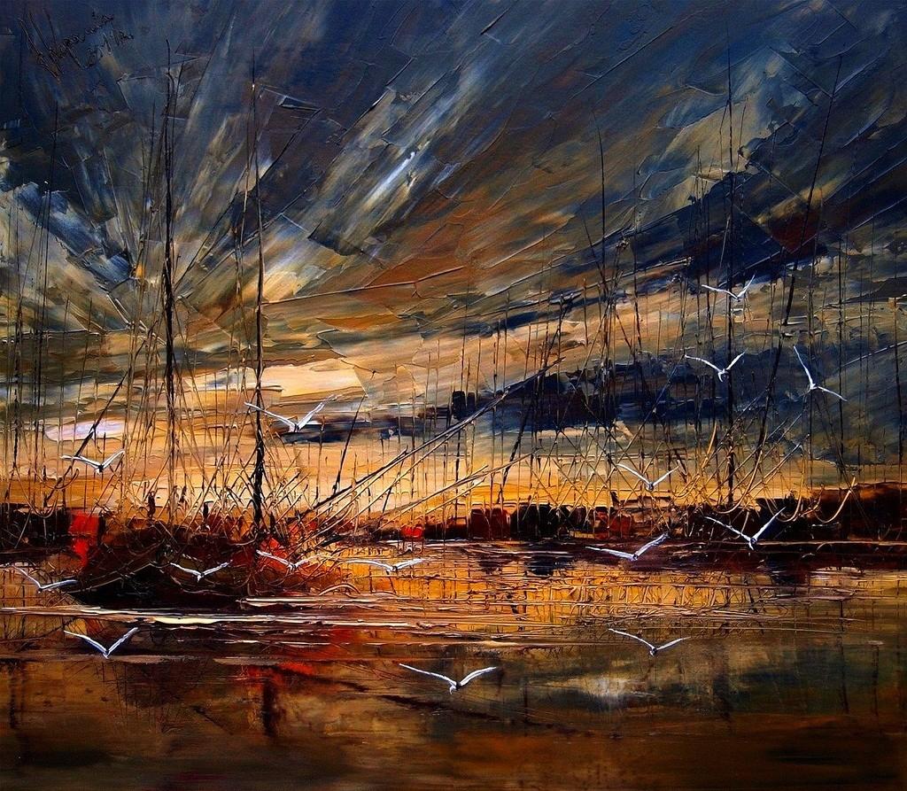 закат чайки корабли небо море как писать маслом мастихиновая живопись развитие реализация вдохновение искусство