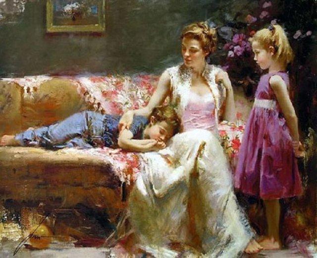 семейная сцена мама дочки живопись маслом диван лирика покой уют гармония купить картину в подарок нарисовать картину с чего начать стили живописи мастерская арт-студия курсы живописи