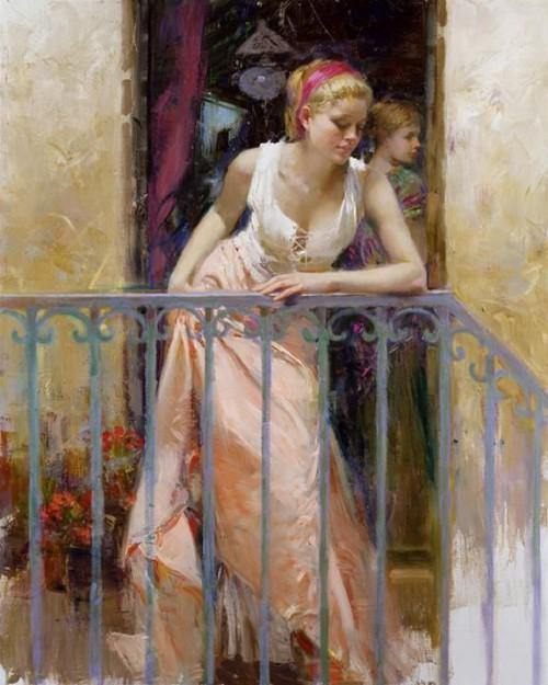 девушка на балконе романтическая картина живопись маслом пино даени итальянское искусство современное искусство вдохновение роскошь престиж преимущество живопись картина подарок роспись алексей жуков