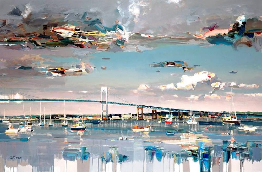 мост река лодка небо облака вода красивая картина масло вдохновение талант радость медитация отдых развлечение лучшее хобби чем заняться петербург курсы живописи