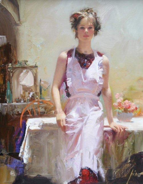 девушка в белом pino daeni художник от бога искусство портрет зеркало стол интерьер купить картину маслом копия на заказ роспись алексей жуков курсы живописи